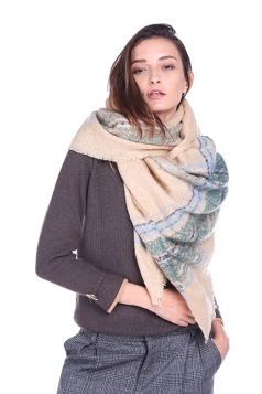 Womens Trendy Stole Fringe Winter Warm Striped Scarf Khaki
