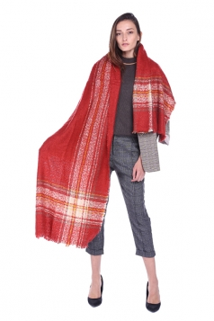 Womens Trendy Stole Fringe Winter Warm Striped Scarf Red