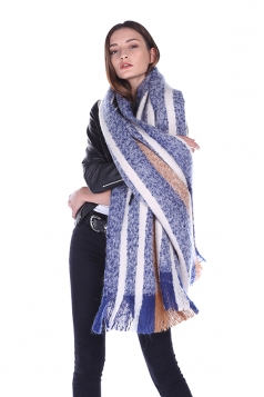 Womens Warm Thick Shawl Tassel Contrast Color Striped Scarf Blue