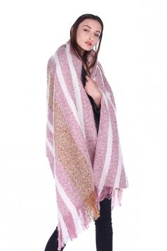Womens Warm Thick Shawl Tassel Contrast Color Striped Scarf Pink