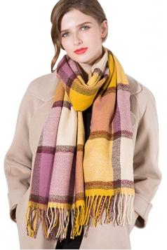 Womens Elegant Shawl Fringe Contrast Color Plaid Scarf Yellow