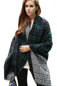 Womens Warm Thick Shawl Houndstooth Tassel Plaid Scarf Green