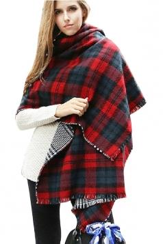 Womens Warm Thick Shawl Houndstooth Tassel Plaid Scarf Red