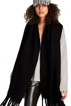 Womens Warm Thick Long Tassel Shawl Plain Scarf Black