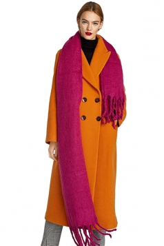 Womens Warm Thick Long Tassel Shawl Plain Scarf Rose Red