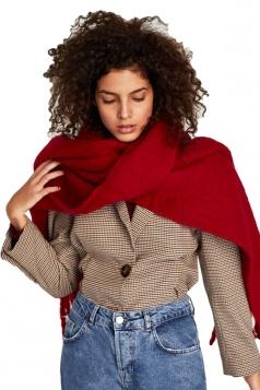 Womens Warm Thick Long Tassel Shawl Plain Scarf Red