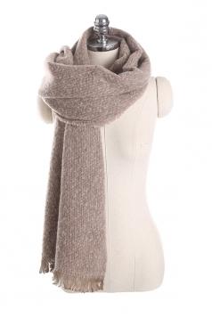 Womens Thick Warm Shawl Fringe Plain Scarf Khaki