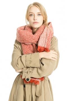 Womens Thick Warm Shawl Fringe Plain Scarf Orange Red