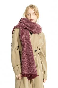 Womens Thick Warm Shawl Fringe Plain Scarf Ruby