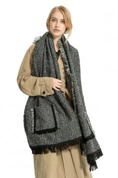 Womens Stylish Warm Shawl Scarf Tassel Pockets Plain Poncho Black