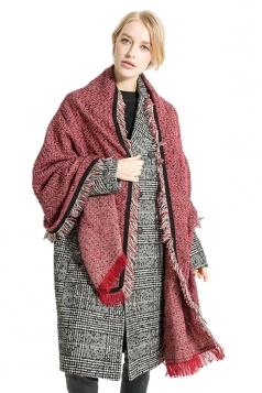 Womens Stylish Warm Shawl Scarf Tassel Pockets Plain Poncho Ruby