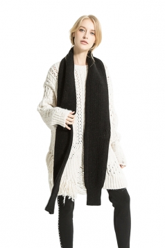 Womens Stylish Thick Warm Knit Plain Scarf Black