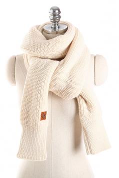 Womens Stylish Thick Warm Knit Plain Scarf Beige White