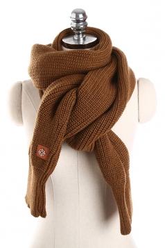 Womens Stylish Thick Warm Knit Plain Scarf Coffee