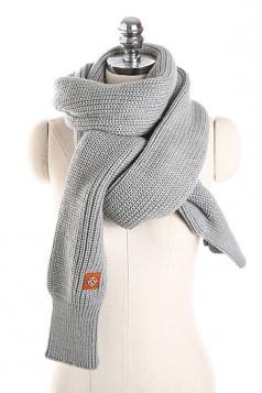 Womens Stylish Thick Warm Knit Plain Scarf Gray
