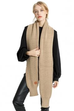 Womens Stylish Thick Warm Knit Plain Scarf Khaki