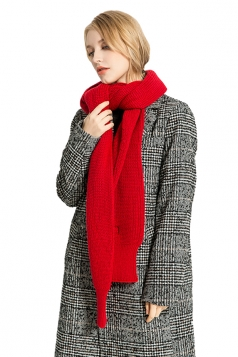 Womens Stylish Thick Warm Knit Plain Scarf Red