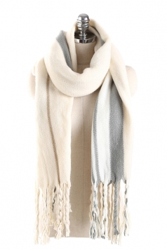 Womens Stylish Warm Fringe Thick Shawl Striped Scarf Beige White