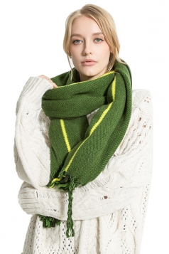 Womens Stylish Warm Fringe Thick Shawl Striped Scarf Green