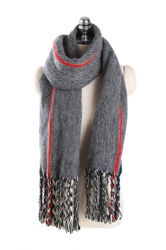 Womens Stylish Warm Fringe Thick Shawl Striped Scarf Gray