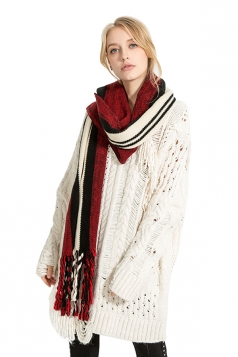 Womens Stylish Warm Fringe Thick Shawl Striped Scarf Ruby