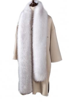 Womens Warm Long Plain Scarf Faux Fur Collar Black And White