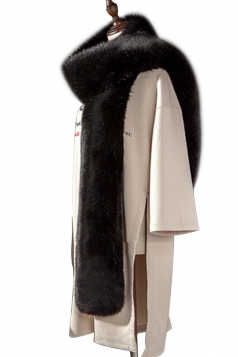Womens Warm Long Plain Scarf Faux Fur Collar Black
