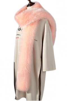 Womens Warm Long Plain Scarf Faux Fur Collar Light Pink