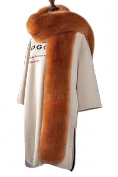 Womens Warm Long Plain Scarf Faux Fur Collar Camel