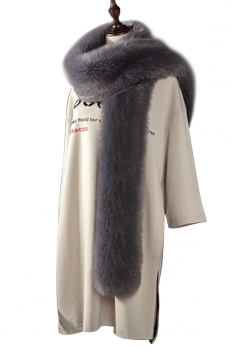 Womens Warm Long Plain Scarf Faux Fur Collar Dark Gray