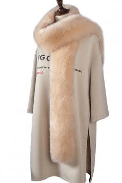 Womens Warm Long Plain Scarf Faux Fur Collar Khaki