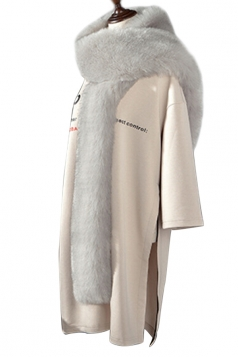 Womens Warm Long Plain Scarf Faux Fur Collar Light Gray