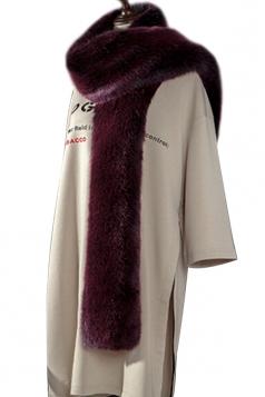 Womens Warm Long Plain Scarf Faux Fur Collar Purple