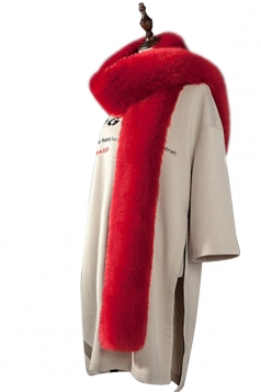 Womens Warm Long Plain Scarf Faux Fur Collar Red