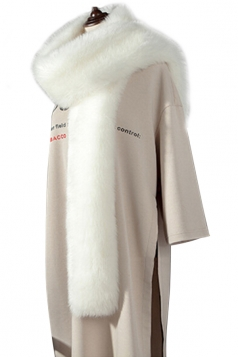 Womens Warm Long Plain Scarf Faux Fur Collar White