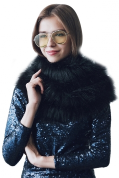 Womens Stylish Asymmetric Hem Plain Scarf Faux Fur Collar Black