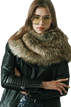 Womens Stylish Asymmetric Hem Plain Scarf Faux Fur Collar Brown