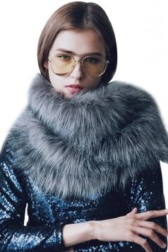 Womens Stylish Asymmetric Hem Plain Scarf Faux Fur Collar Gray