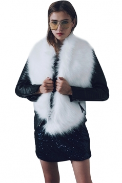Womens Stylish Asymmetric Hem Plain Scarf Faux Fur Collar White