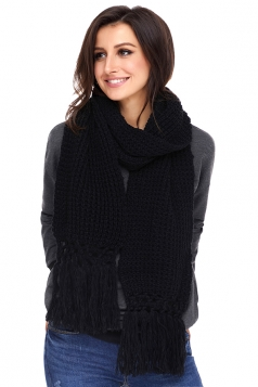 Womens Warm Thick Chunky Fringe Knit Plain Scarf Black