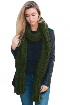 Womens Warm Thick Chunky Fringe Knit Plain Scarf Green