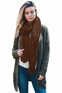 Womens Warm Thick Venonat Ribbed Knit Plain Scarf Brown