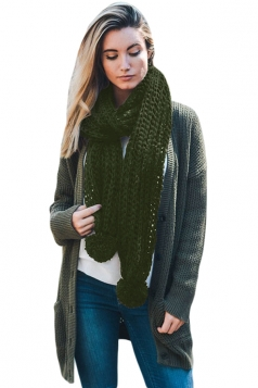 Womens Warm Thick Venonat Ribbed Knit Plain Scarf Green