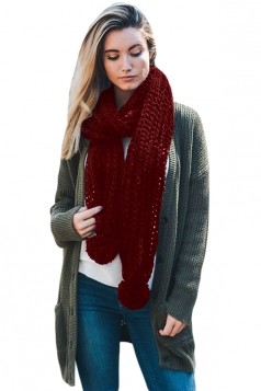 Womens Warm Thick Venonat Ribbed Knit Plain Scarf Ruby