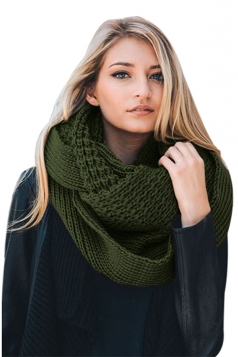 Womens Warm Chunky Cable Knit Shawl Collar Plain Scarf Green