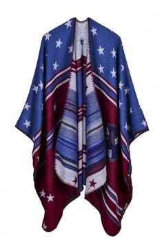 Womens Thick Warm Wrap Shawl Star Printed Poncho Blue