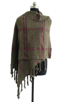 Womens Warm Thick Shawl Tassel Plaid Scarf Army Green