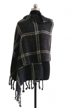 Womens Warm Thick Shawl Tassel Plaid Scarf Black