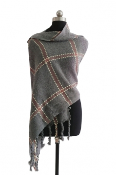 Womens Warm Thick Shawl Tassel Plaid Scarf Gray