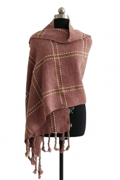 Womens Warm Thick Shawl Tassel Plaid Scarf Pink